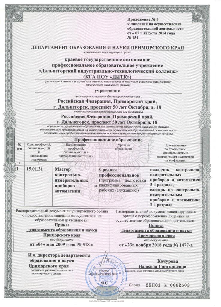 Приложение к лицензии 001