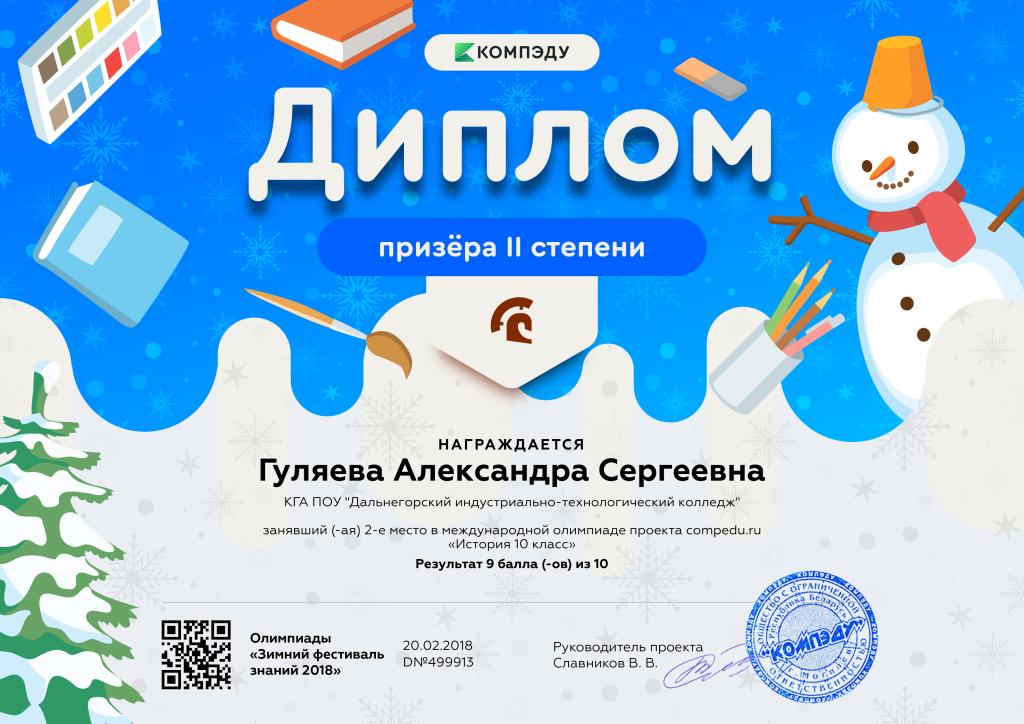 Гуляева Александра Сергеевна - диплом