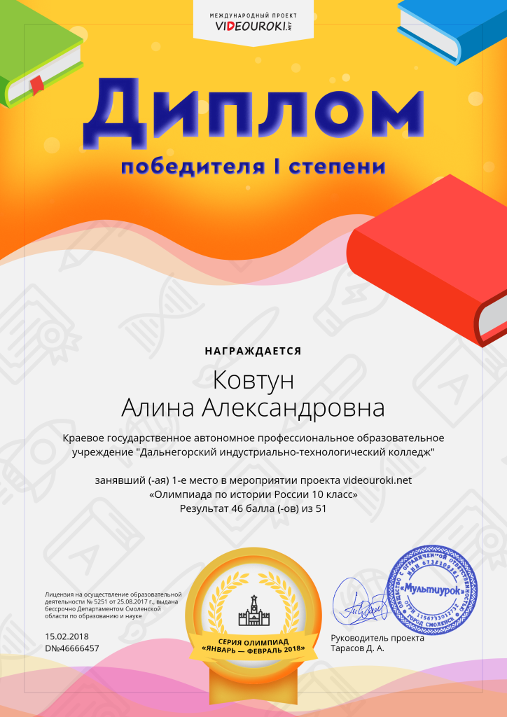 23919162. 46666457-Ковтун Алина Александровна