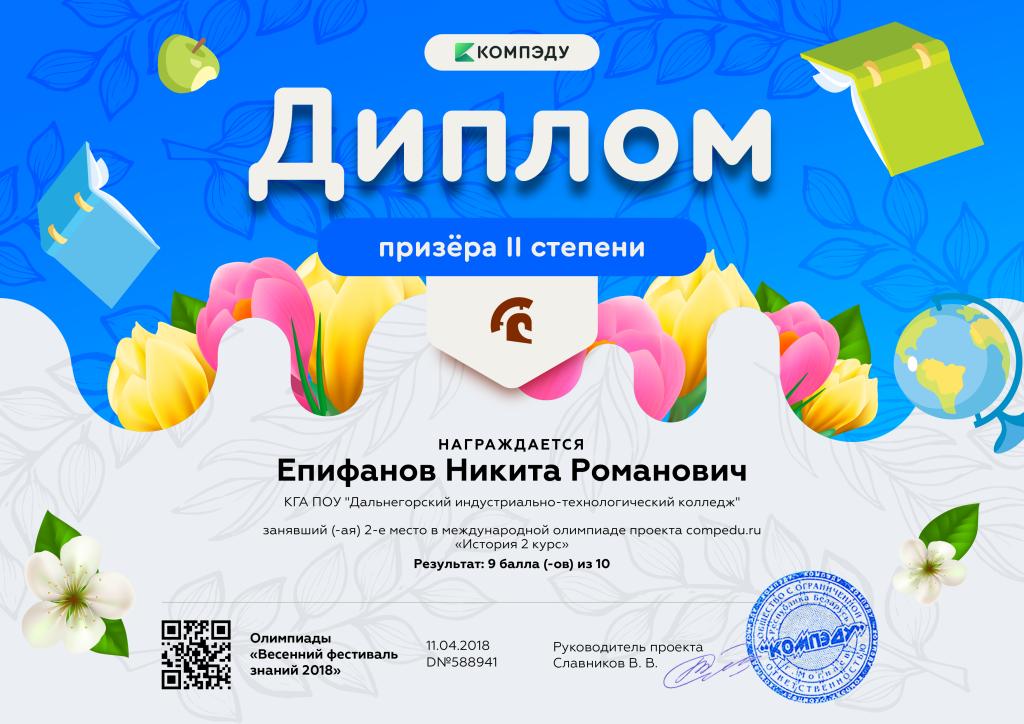 Епифанов Никита Романович - диплом