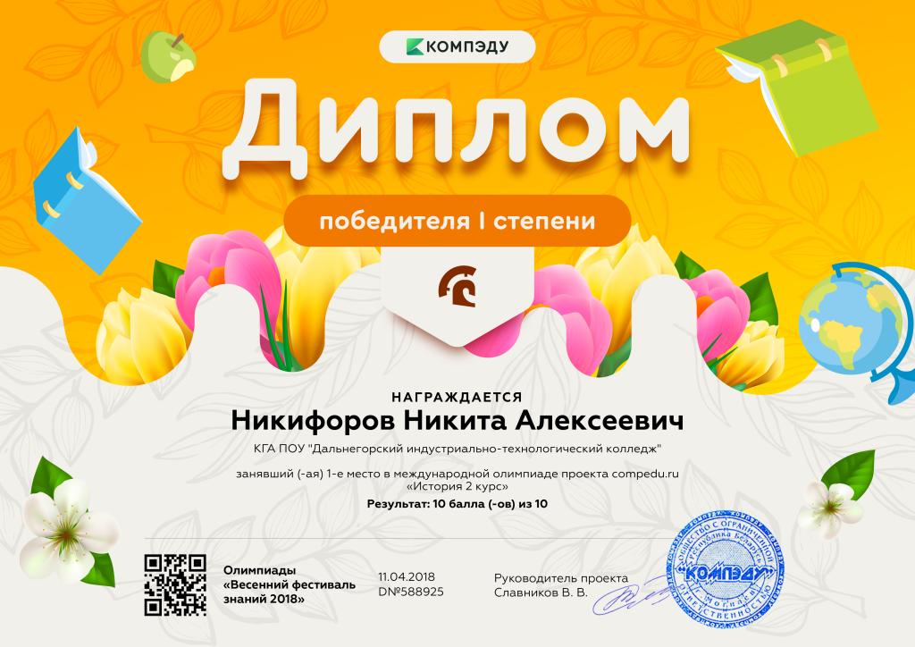 Никифоров Никита Алексеевич - диплом