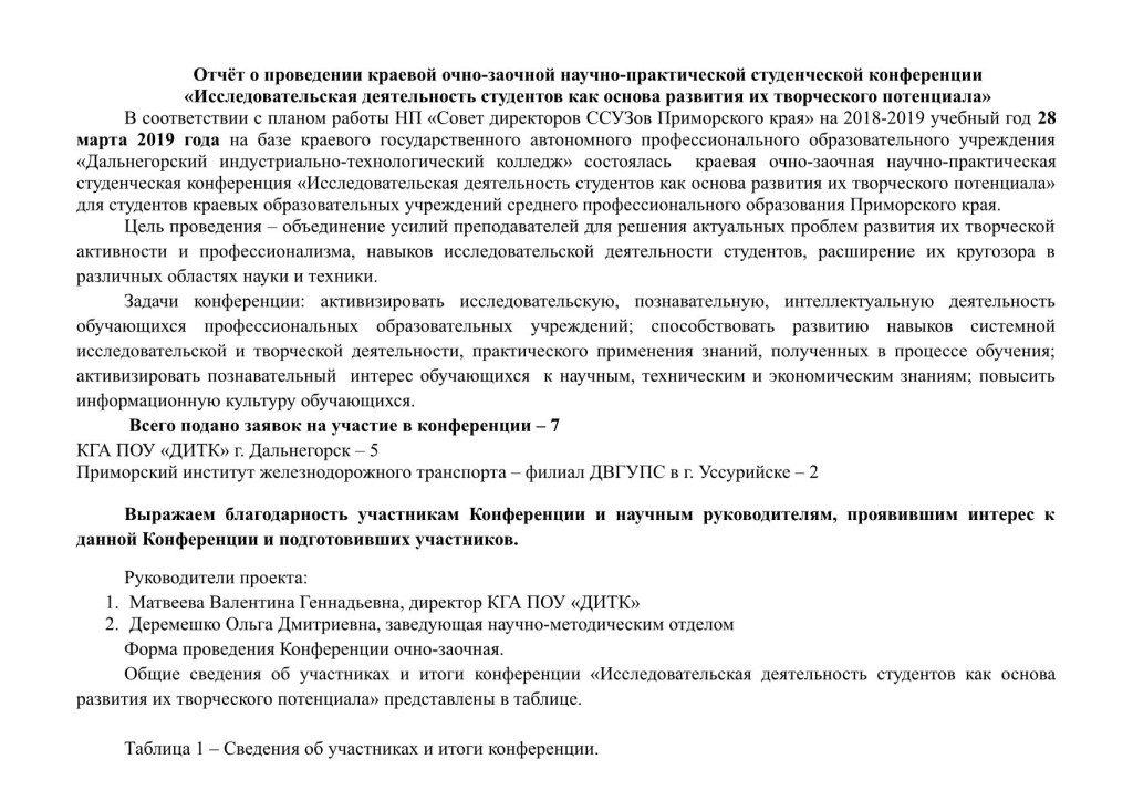 Отчет о проведении конференции КГА ПОУ ДИТК_1